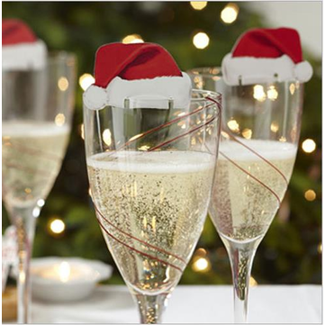 Christmas10 pcs Table Place Cards Champagne Wine Glass Caps Christmas Holiday Party Decorations