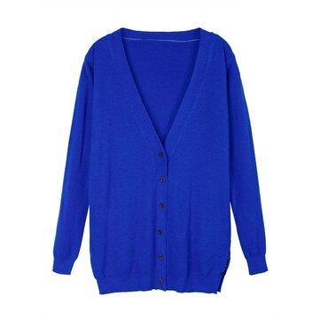महिला कार्डिगन लंबी आस्तीन शुद्ध रंग स्लिम लंबे स्वेटर