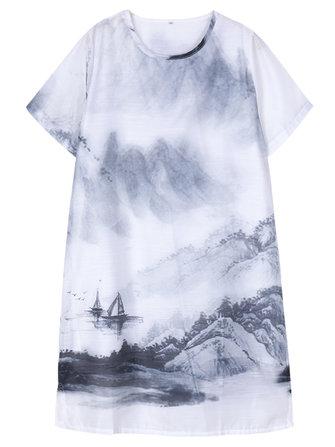 Elegant Women Short Sleeve Ink Printing Split Organza Dress