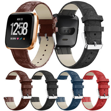 22mm Luxury Leather Watch Band Crocodile Wristband Replacement For Fitbit Versa