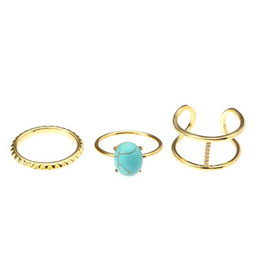 JASSY® Simple Ring Set Gold Platinum Plated Turquoise Zircon Inlay Open Ring Fine Jewelry for Women