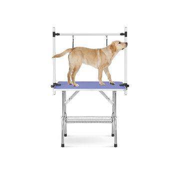 """Large Size 46"""" Folding Table for Pet Dog and Cat with Adjustable Arm and Clamps Large Heavy Duty Animal Grooming Table"""