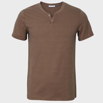 पुरुष वी-गर्दन ठोस रंग लघु आस्तीन पतला कपास आरामदायक टी शर्ट