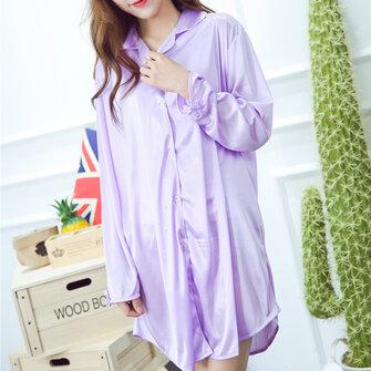 Ice Silk Thin Shirt Dress Pure Color Silky Soft Turn-down Collar Sleepwear For Woman