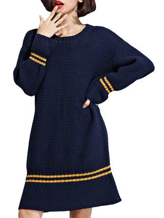 महिला धारीदार ओ-गर्दन लंबी आस्तीन वाली ढीली पोशाक