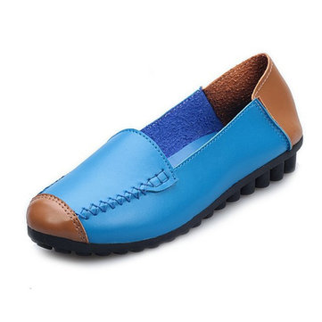 New Women Casual Flat Loafers Soft Comfortable Breathable PU Slip-On Flats Shoes
