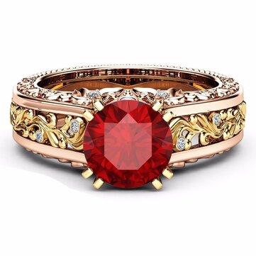 Elegant Rose Gold Pattern Hollow Copper Zircon Ring Valentine's Day Gift for Women