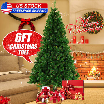 6Ft PVC Artificial Christmas Tree Stand Holiday Xmas Skirt LED Beanie Decor Gift