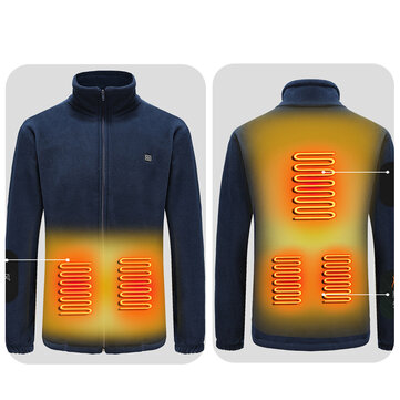 Buy Electric Heated Jackets Outdoor Vest Coat USB Long Sleeves Electric Heating Hooded Jackets Warm Winter Thermal Clothing with 10 on Gipsybee.com