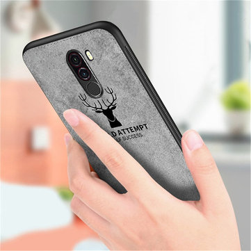 Bakeey™ Deer Pattern Shockproof Cloth + Soft TPU Back Cover Protective Case for Xiaomi Pocophone F1