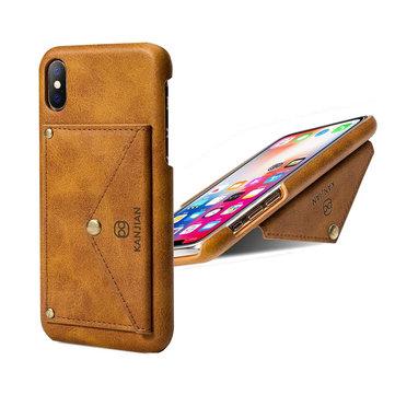 KANJIAN PU Lær Card Slot Bracket Beskyttelsesveske til iPhone X