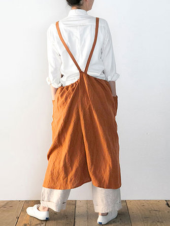 Japanese Sleeveless Straps Cotton Solid Apron Dress with Pockets