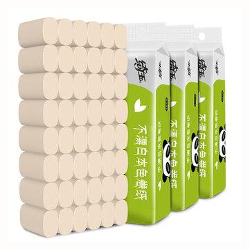 10 ruller 4-lags Soft husholdnings toiletpapir væv Naturlig papirmasse ruller Stærk vandabsorption Hurtigt opløst toiletpapir kasse