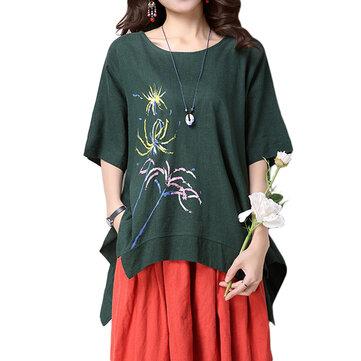 महिलाओं के लिए अनौपचारिक फ्लैश प्रिंट अनियमित टी-शर्ट