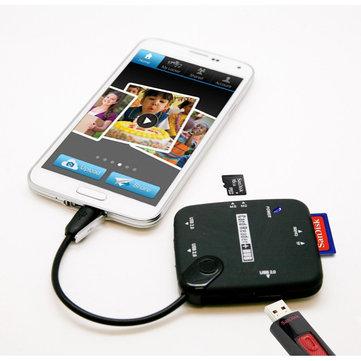 Micro USB till SD TF M2 MS Kortläsare OTG Hub för mobiltelefoner