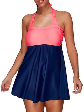 Plus Size High-elastic Cover Belly Swimdress Sexy Halter Padding Swimsuit