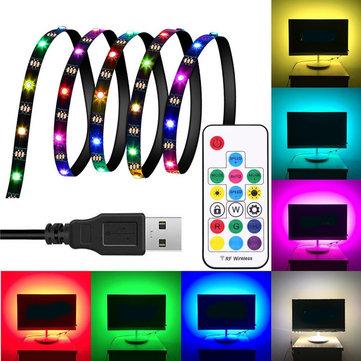 DC5V 1M 2M 3M WS2812 SMD5050 IC thông minh chống nước USB LED Dải sáng + 17 phím điều khiển từ xa