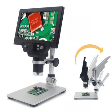 MUSTOOL G1200 Digital Microscope 12MP 7 Inch Large Color Screen Large Base LCD Display 1-1200X Continuous Amplification Magnifier with Aluminum Alloy Stand Built-in Lithium Battery Version