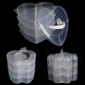 3 Layers Portable Clear Plastic Case Makeup Organizer Nail Decoration Storage