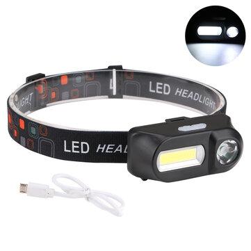 XANES 700LM XPE + COB LED HeadLamp USB Antarmuka Waterproof Outdoor Camping Hiking Bersepeda Fishing Light