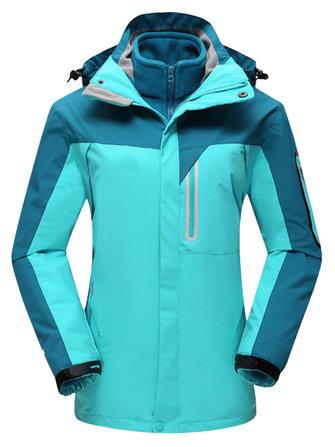 प्लस साइज मोटी कलर ब्लॉक दो-टुकड़ा हुड स्की जैकेट