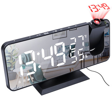 Electronic LED Projector Alarm Clock Desktop Digital Projection Alarm Clock Smart Home Bedroom Bedside Clock Coupon Code and price! - $19