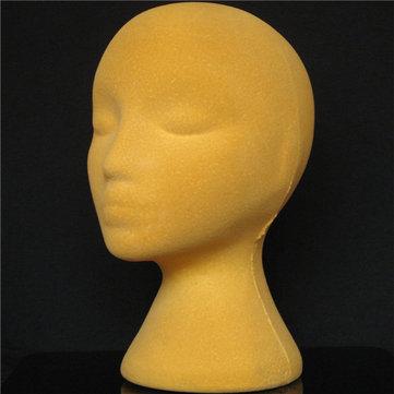 Yellow Foam Mannequin Head Holder Human Hair Wig Model Practical Display