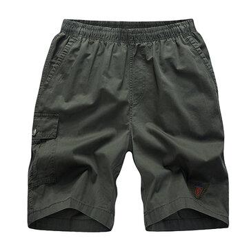 ग्रीष्मकालीन पुरुषों कार्गो शॉर्ट्स आरामदायक मल्टी पॉकेट शॉर्ट्स 100% कपास शुद्ध रंग कार्गो शॉर्