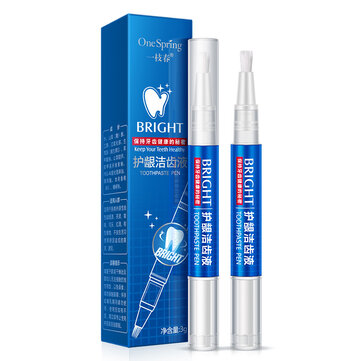 Teeth Brightening Pen Tooth Tartar Stains Remover Teeth Whitening for Yellow Teeth Smoked Oral Care Soft Brush Toothpaste Pen