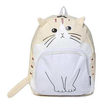 Women Canvas Cat Face Backpack Girls Cute Rucksack School Students Book Bags