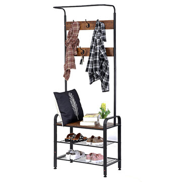 DouxLife® DL_CS01 3in1 Design Coat Rack Shoe Stool With Metal Frame for Home Entry Storage Industrial Style Furniture Supplies