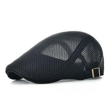 Men Leisure Mesh Breathable Beret Hat Outdoor Sport Solid Newsboy Cabbie Flat Cap Visor