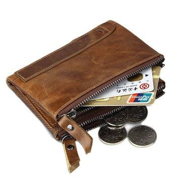RFID Antimagnetic Genuine Leather Wallet Vintage 7 Card Holders Coin Bag For Men