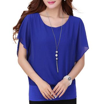 आरामदायक रफल्स आस्तीन ठोस रंग शिफॉन महिला टी शर्ट