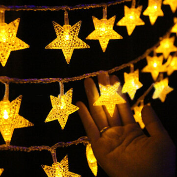 KCASA Christmas 3M 20 Lights Five-Pointed Star  Outdoor Decorative Lights