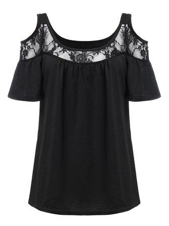 कंधे टी शर्ट से महिला सेक्सी फीता पैचवर्क