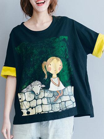 Cotton Cartoon Print O-neck Short Sleeve T-shirts