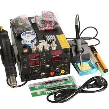 Saike 220,5296565 Trạm hàn làm lại + Súng không khí nóng + Bộ nguồn DC 3 trong 1 Bộ đa năng với đầy đủ phụ kiện