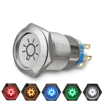 19mm 12V LED IP65 Botón de encendido Apagado Interruptor de luz de domo