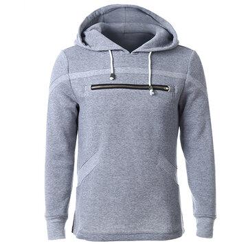 पुरुषों फैशन आरामदायक वसंत शरद ऋतु जिपर डिजाइन Drawstring हुडीज sweatshirt