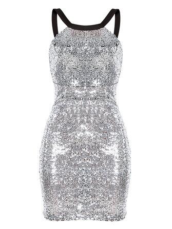 Mujeres sin mangas lentejuelas cremallera delgada plata de oro lápiz vestidos de fiesta