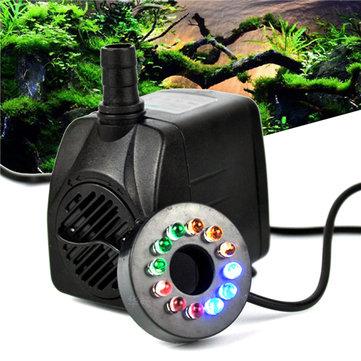 RGBY 12 LED Bomba de água submersível de luz noturna para aquário KOI Fonte de piscinas de peixes AC220V