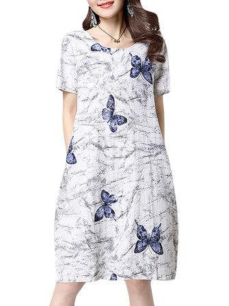 सुरुचिपूर्ण महिला तितली मुद्रण ओ-गर्दन ए-लाइन मिडी ड्रेस