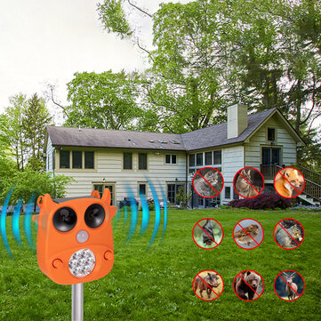 JLT 866 Solar Ultrasonic Animal Repeller 7 LED Flashing Light Frighten Animals Garden PIR Sensor Bird Cats Dog Repellent