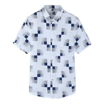 Plus Storlek S-5XL Plaid Printing Casual Business Sommarskjortor för män