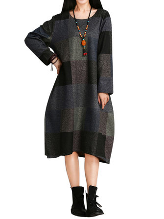 M-5XL Casual Women Plaid Long Sleeve Pocket Midi Dress