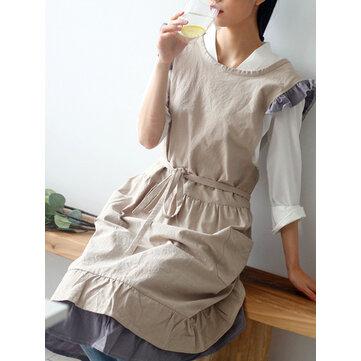 Japanese Sleeveless Ruffle Pockets Solid Color Vintage Apron Dress