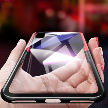 Bakeey ™ Tempered Glass Back Cover TPU Ramme Beskyttende Veske til iPhone X/7/7 Plus/8/8 Plus