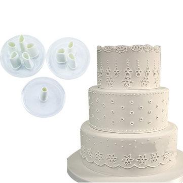 3pcs Lace Hole Plastic Fondant Cuttter Cake Cookie Buscuit Mold Baking Decorating Tools Sugarcraft