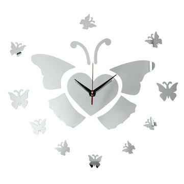 DIY 3D Flying Butterfly Wall Clock Mirror Acrylic Home Decor